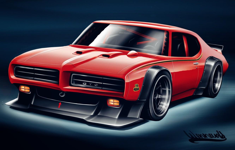Photo wallpaper Auto, Figure, Machine, Art, Pontiac, Pontiac GTO, The Judge, by Andreas Hoas Wennevold, Andreas Hoas …