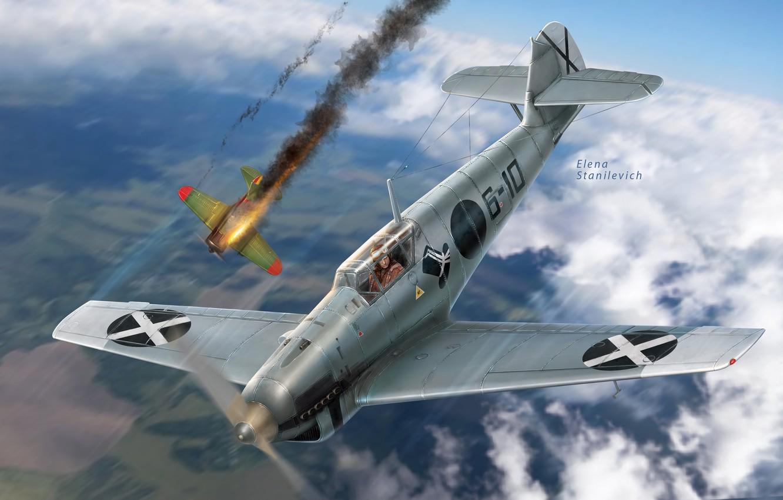 Photo wallpaper Messerschmitt, -16, Bf-109, Legion Condor, The civil war in Spain, Hunt group 88, Bf.109B