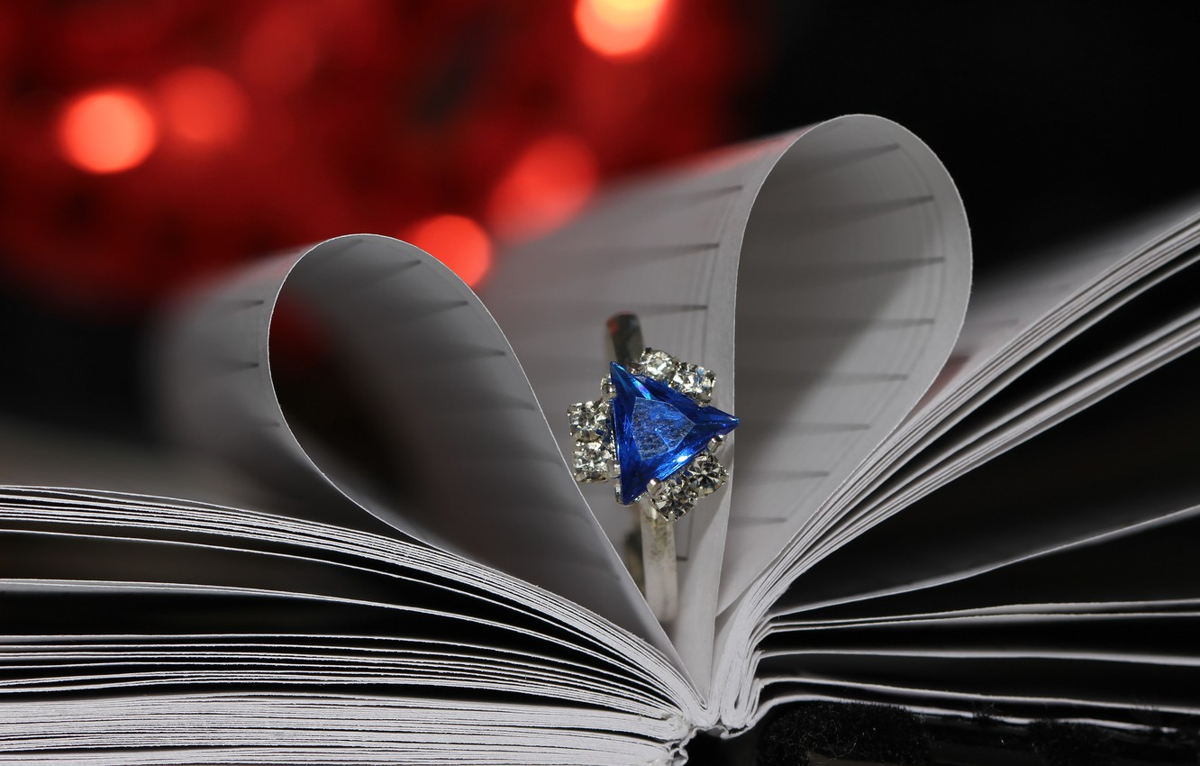 Photo wallpaper macro, background, heart, ring, bokeh