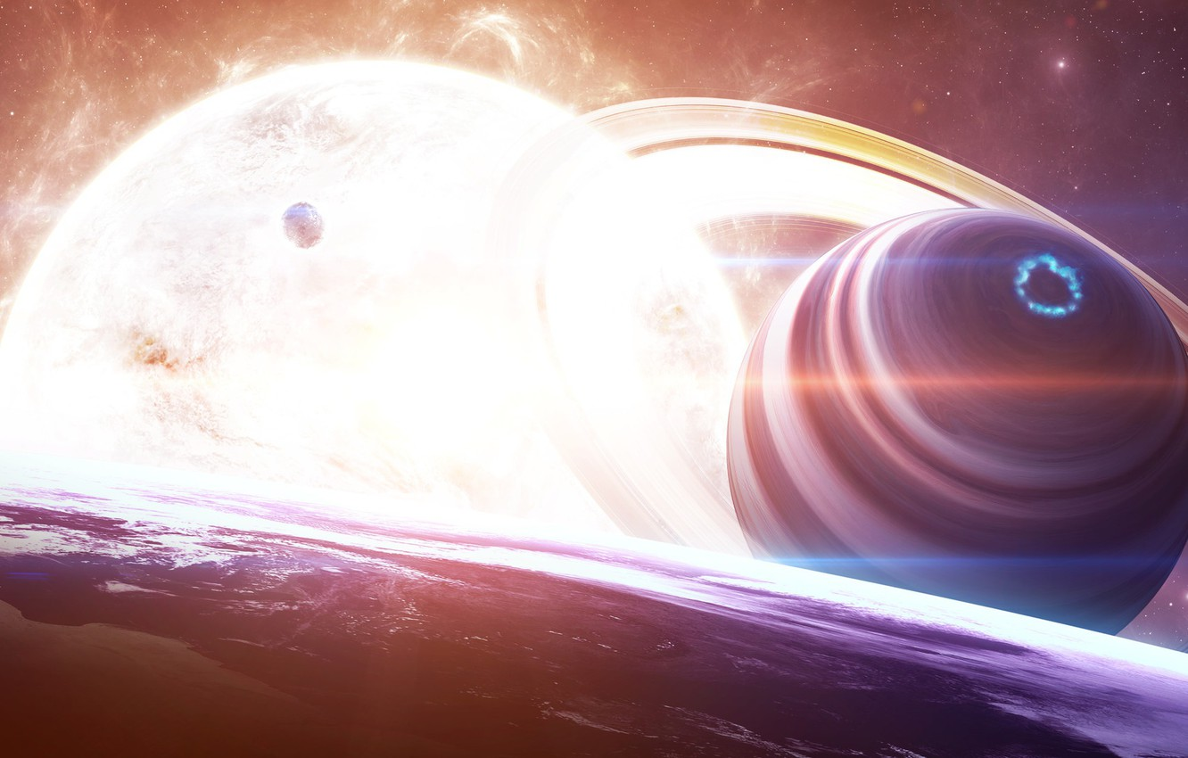 Photo wallpaper Planet, Space, Star, Light, Planet, Light, Fantasy,