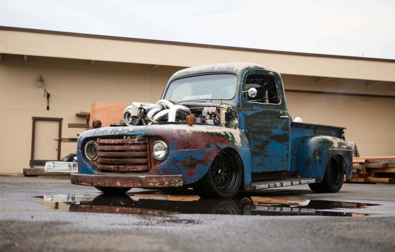 Photo wallpaper Ford, Truck, Pickup, Custom, Engine, Vehicle, Modified