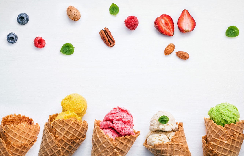 Photo wallpaper berries, colorful, ice cream, fruit, horn, fruit, berries, ice cream, cone