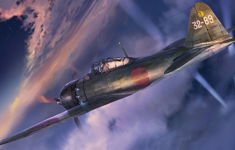 Photo wallpaper art, airplane, aviation, zero, Mitsubishi a6m5