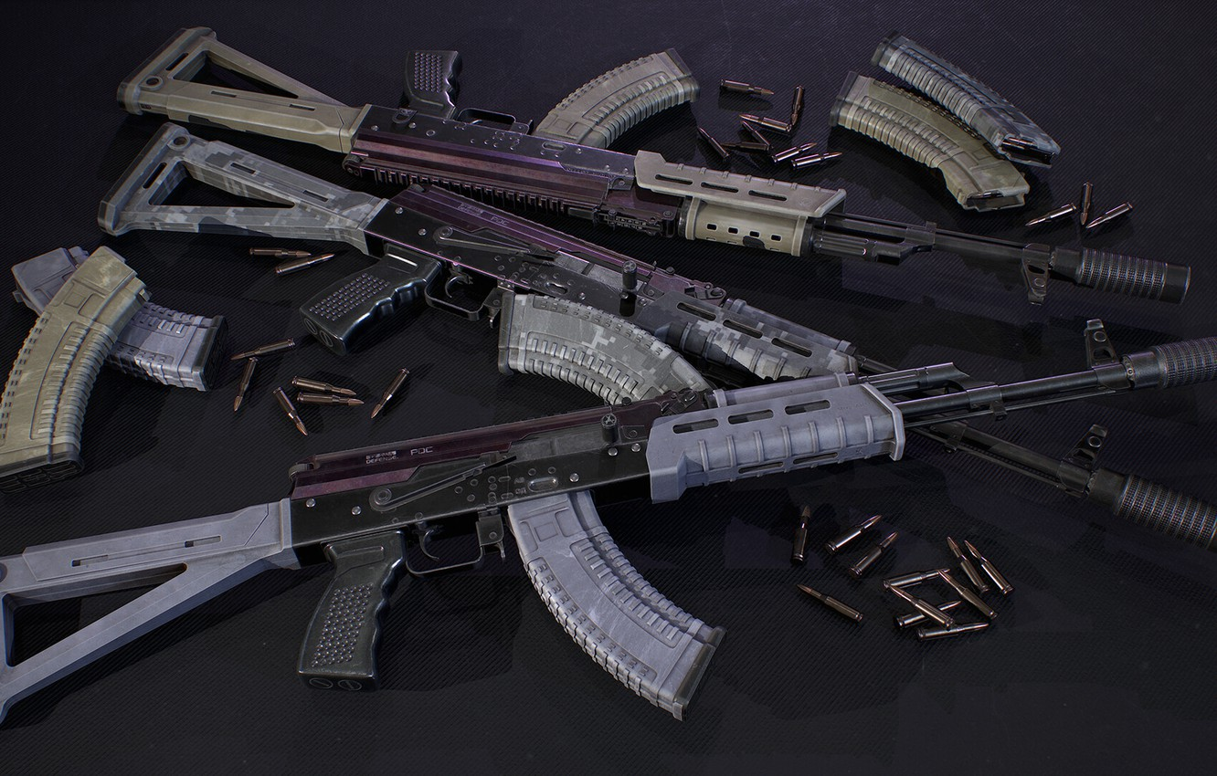 Photo wallpaper rendering, weapons, tuning, Machine, Gun, weapon, render, Kalashnikov, render, 3d art, AKM, Assault rifle, Russian, …