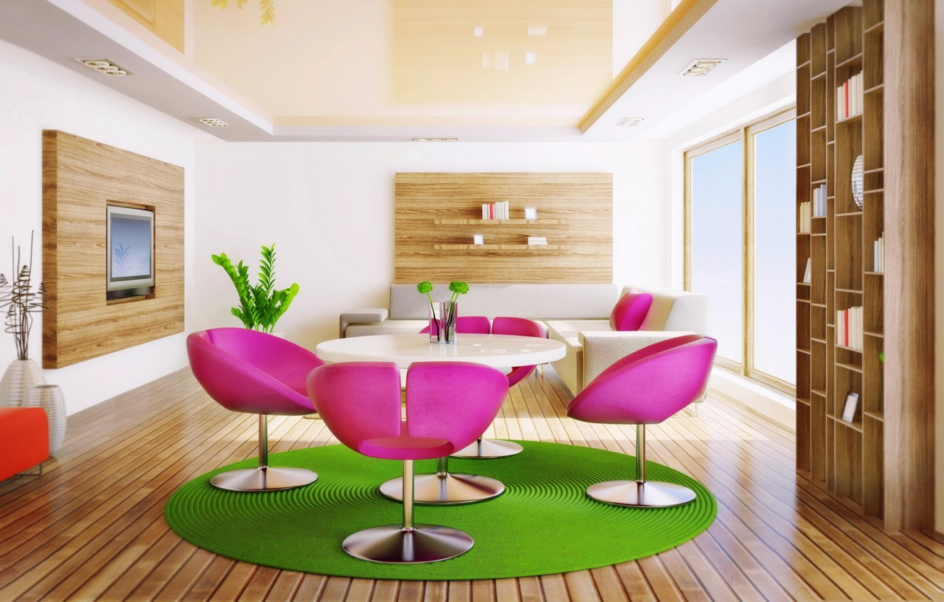 Photo wallpaper table, sofa, chairs, window, living room