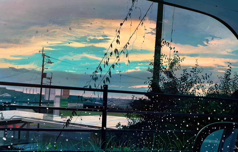 Photo wallpaper auto, drops, the city, window