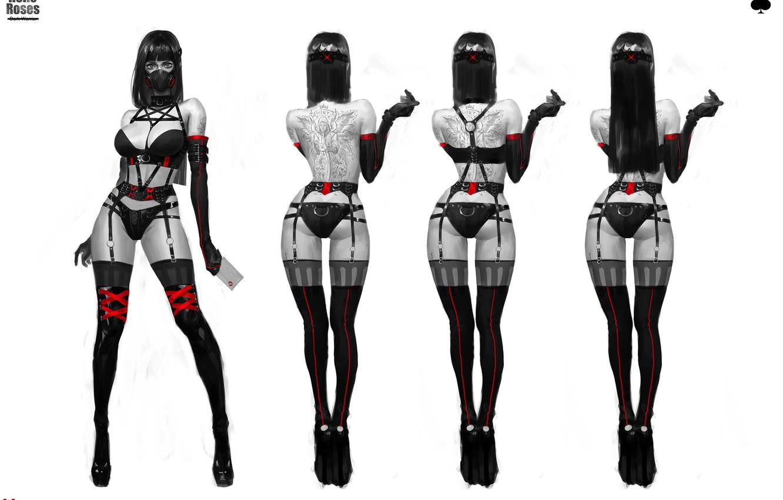 Photo wallpaper Girl, View, Girl, Brunette, Stockings, Feet, Heels, Tattoo, Legs, Art, Art, Brunette, Respirator, Garter, Heels, …