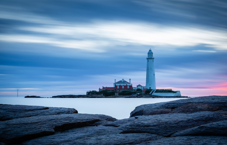 Photo wallpaper sea, nature, The sky, Lighthouse, Stones
