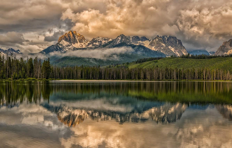 Photo wallpaper clouds, landscape, nature, beauty, Mountains, Lake