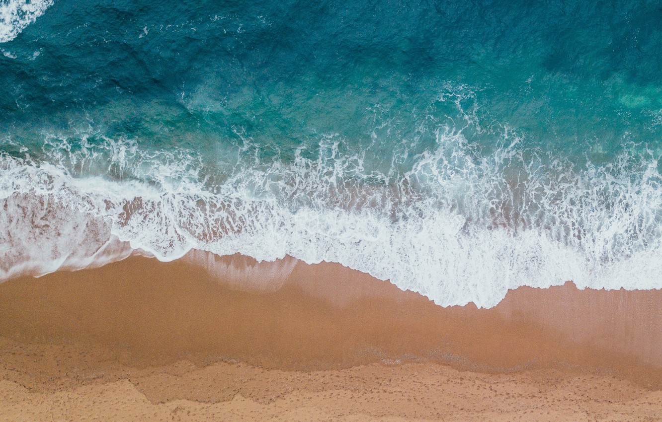 Photo wallpaper The ocean, Sea, Beach, Shore, The view from the top