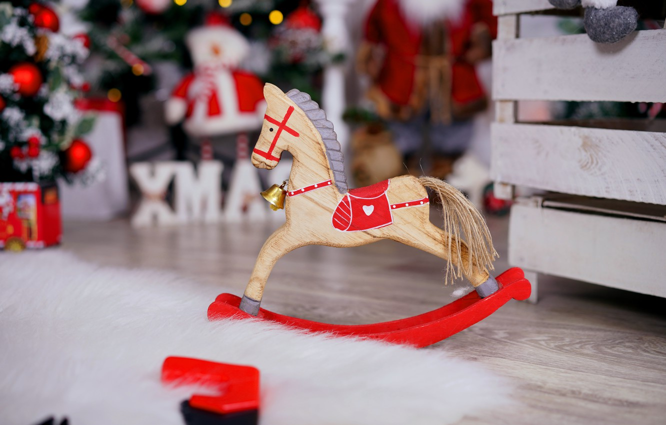 Wallpaper Winter Room Horse Holiday Horse Toy Christmas Floor New Year Fur Tree Box Bell Wooden Bokeh Christmas Decorations Images For Desktop Section Novyj God Download