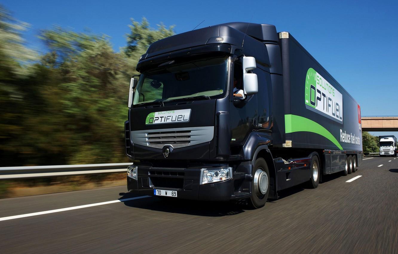Photo wallpaper movement, black, track, truck, Renault, tractor, 4x2, the trailer, Premium Route, Renault Trucks