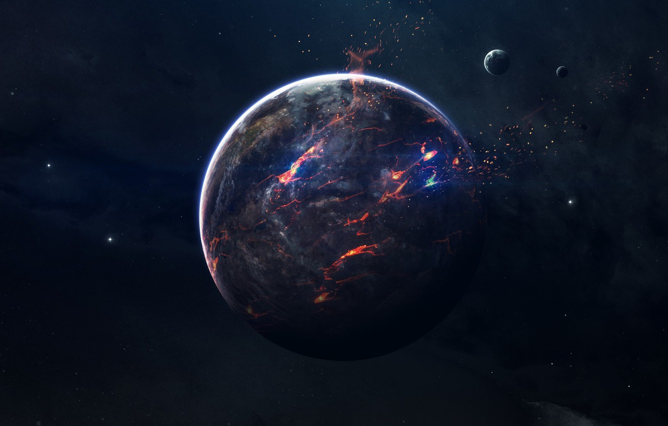Photo wallpaper Stars, Planet, Space, Fragments, Flame, Art, Stars, Space, Art, Satellite, Flame, Planet, Satellite, Lava, Space, ...