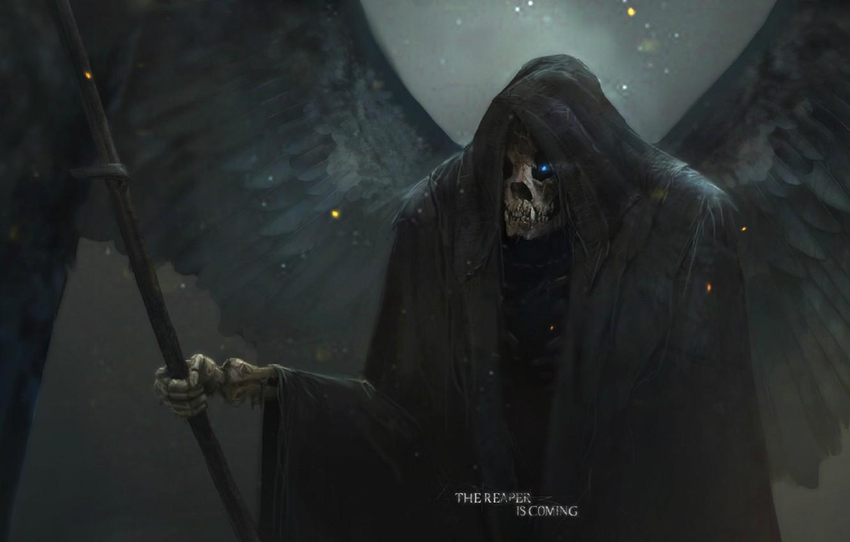 Photo wallpaper death, skull, art, in the hood, Reaper, burning eyes, black wings, Sawan, Max Duran