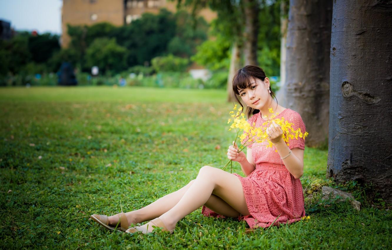 Photo wallpaper girl, dress, legs, Asian
