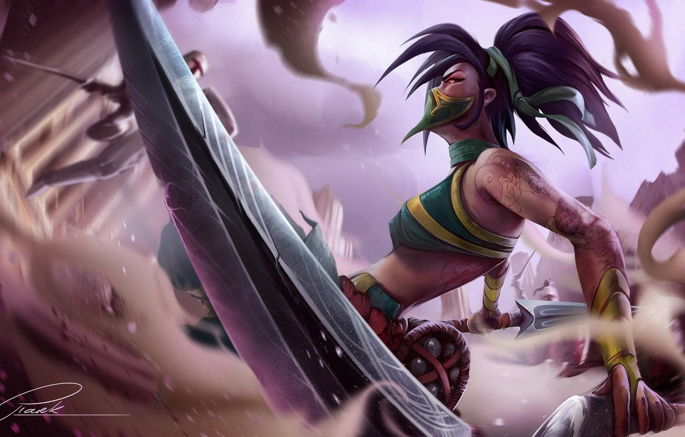Wallpaper Girl Fantasy Art Akali League Of Legends