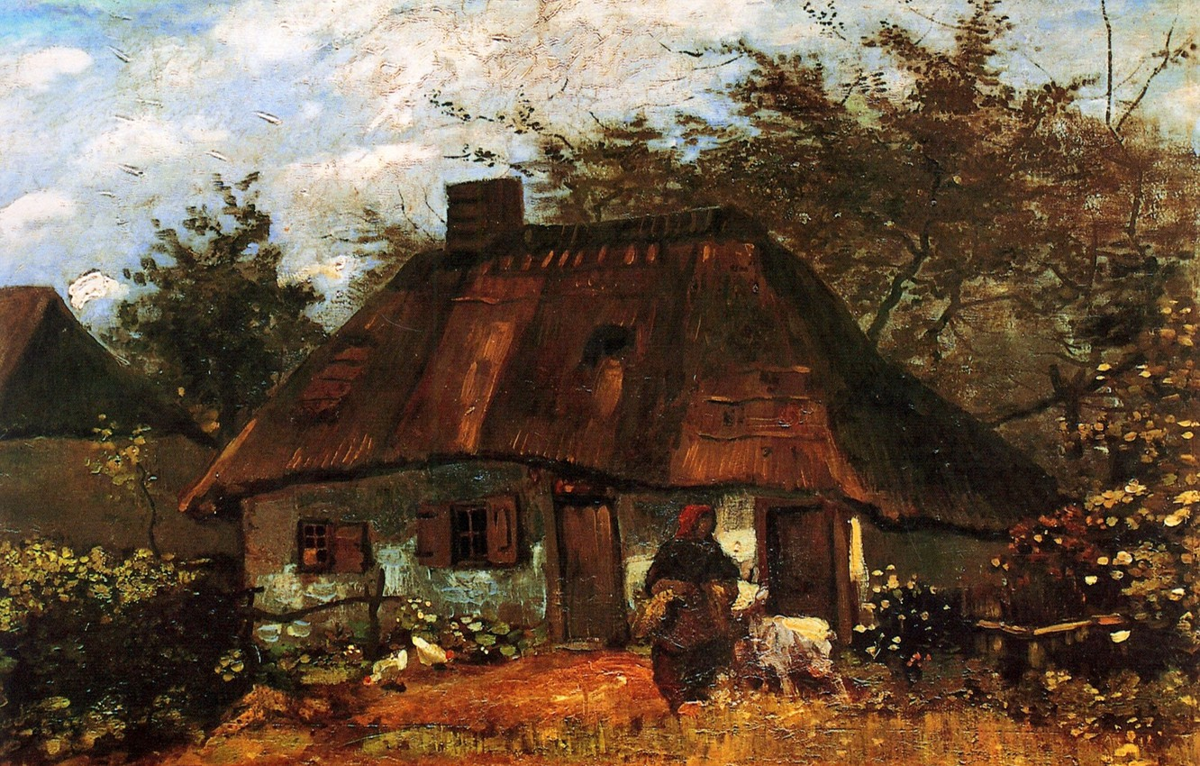 Photo wallpaper grandma, hut, Vincent van Gogh, Cottage, and Woman with Goat