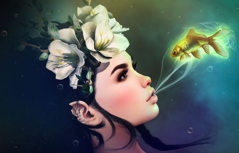 Photo wallpaper girl, flowers, fish, wreath