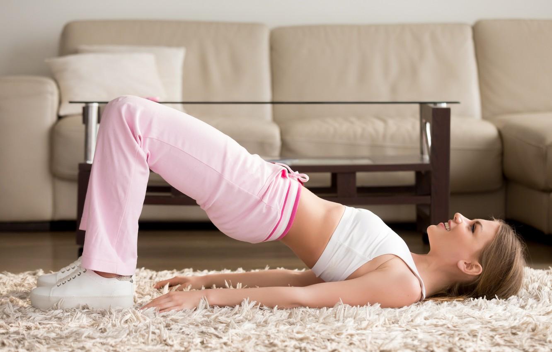 Photo wallpaper smile, workout, yoga