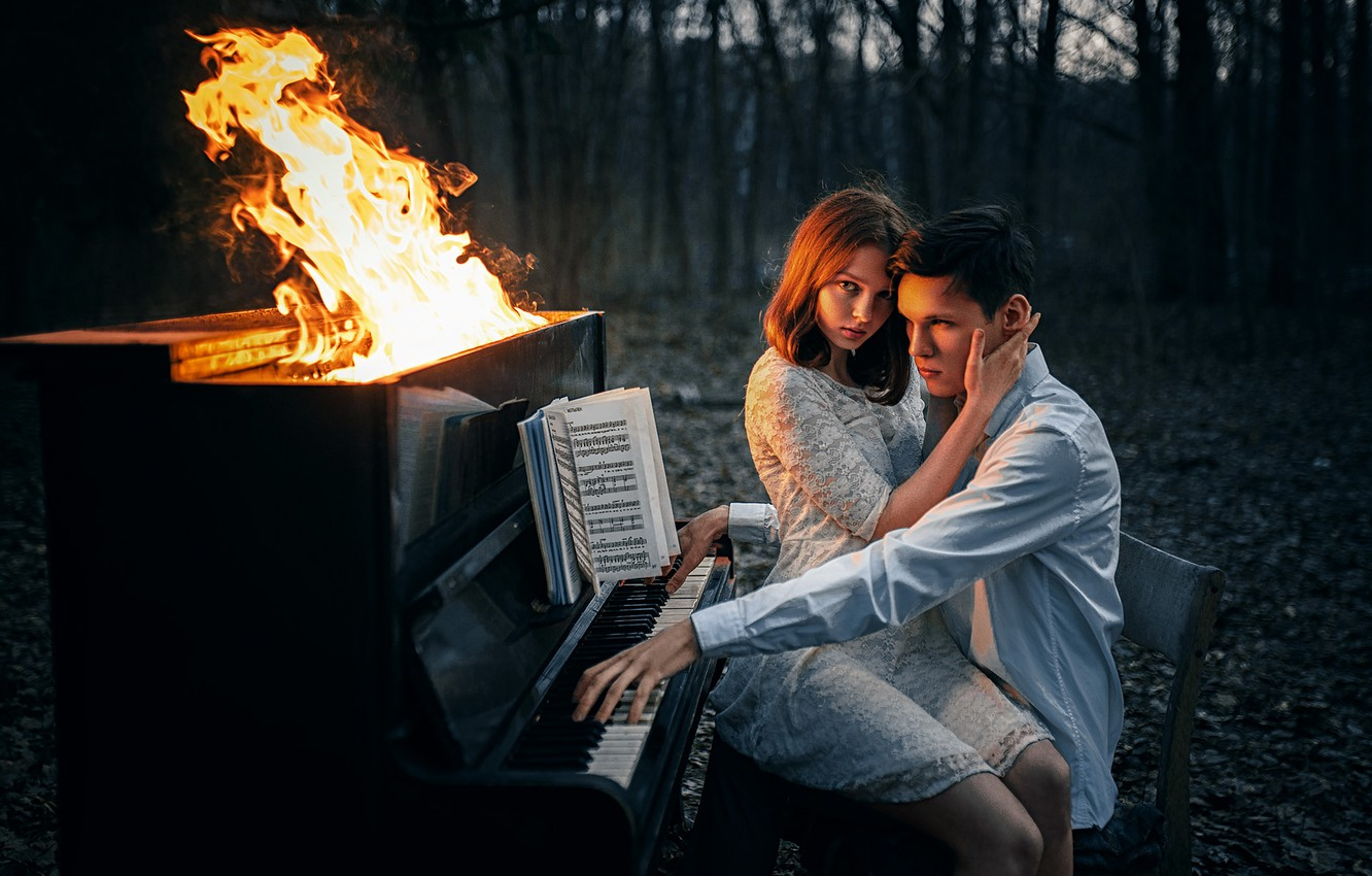 Photo wallpaper forest, girl, notes, fire, flame, the situation, guy, piano, piano, lovers, on my knees, Albert …