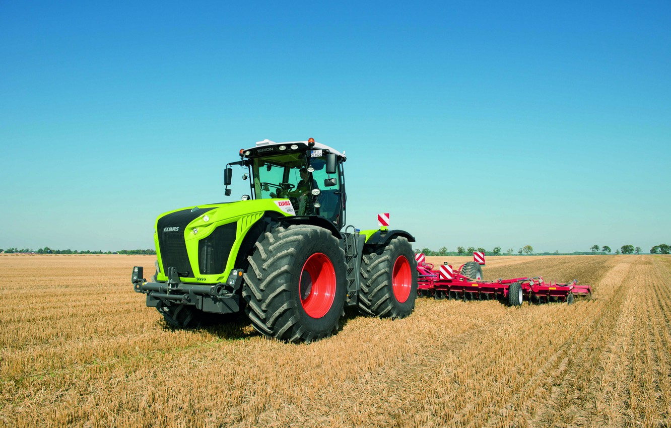 Photo wallpaper field, the sky, tractor, Claas, agricultural machinery, Xerion 4000