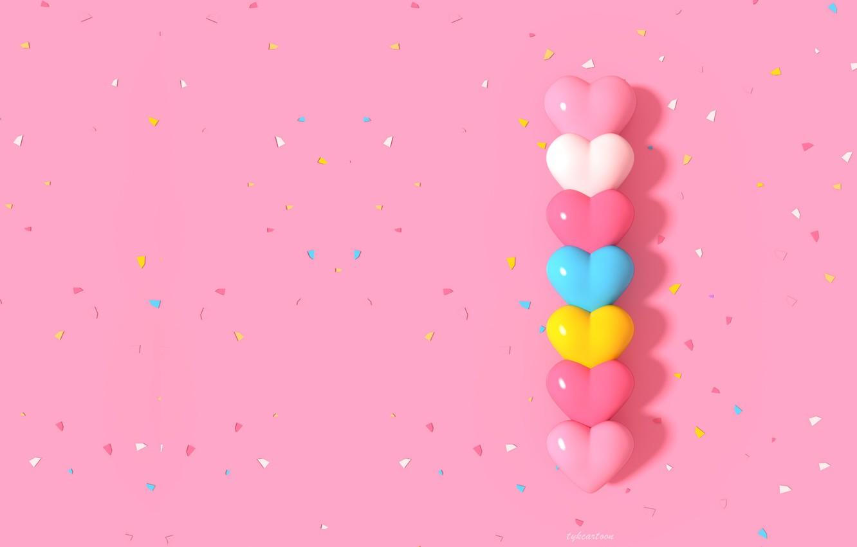 Photo wallpaper rendering, texture, art, hearts, children's, candy, heart shaped candy, caramanica, Tzuyu Kao 3D