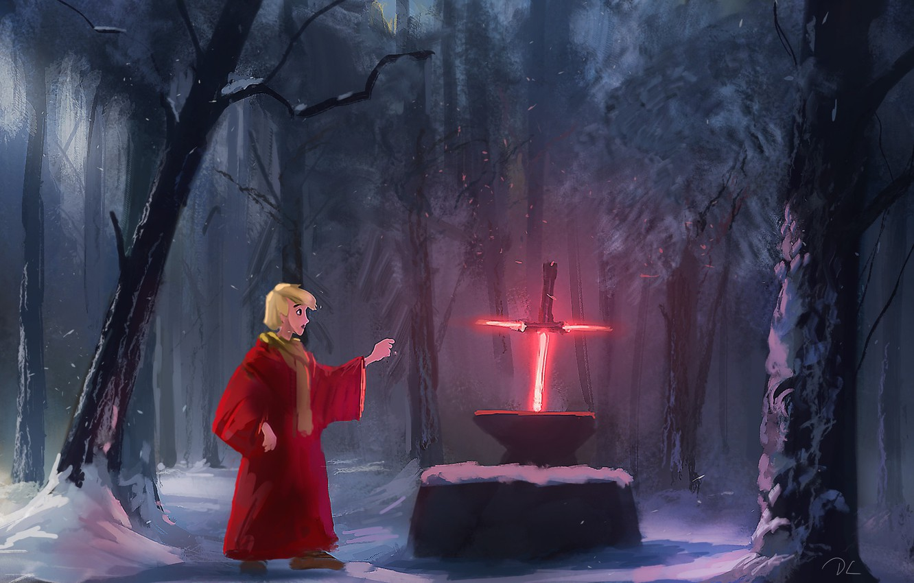 Photo wallpaper Forest, Humor, Star Wars, Sword, Art, Lightsaber, Illustration, Arthur, Sword, King Arthur, Denis Loebner, by ...