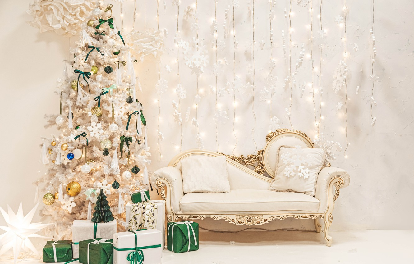 Wallpaper Sofa Wall Holiday Toys New Year Interior Pillow Gifts Tree Garland Box Images For Desktop Section Novyj God Download