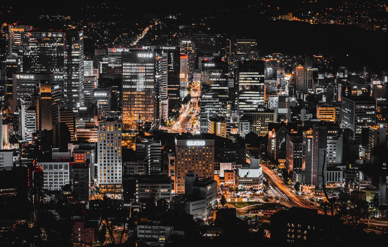 Photo wallpaper night, the city, Seoul