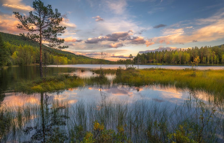 Photo wallpaper landscape, sunset, lake