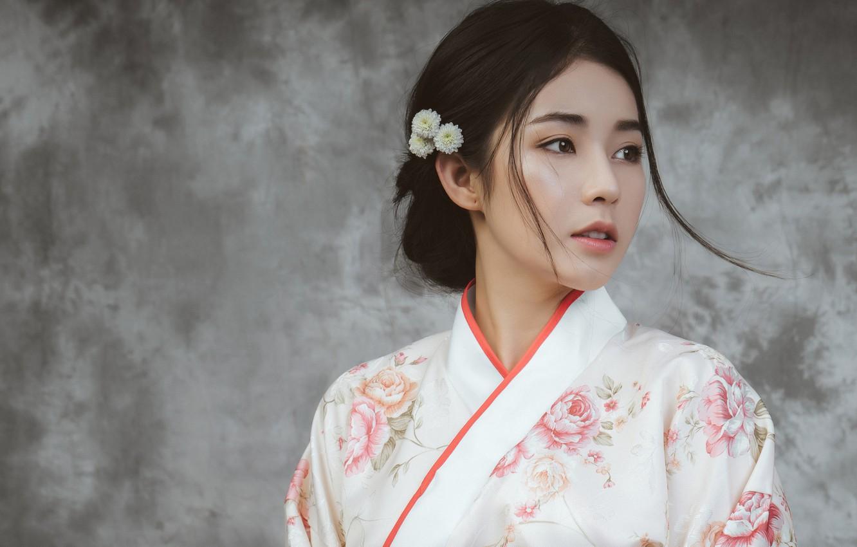 Photo wallpaper look, girl, flowers, style, background, wall, portrait, brunette, hairstyle, kimono, Asian, beautiful, grey background, cute, …