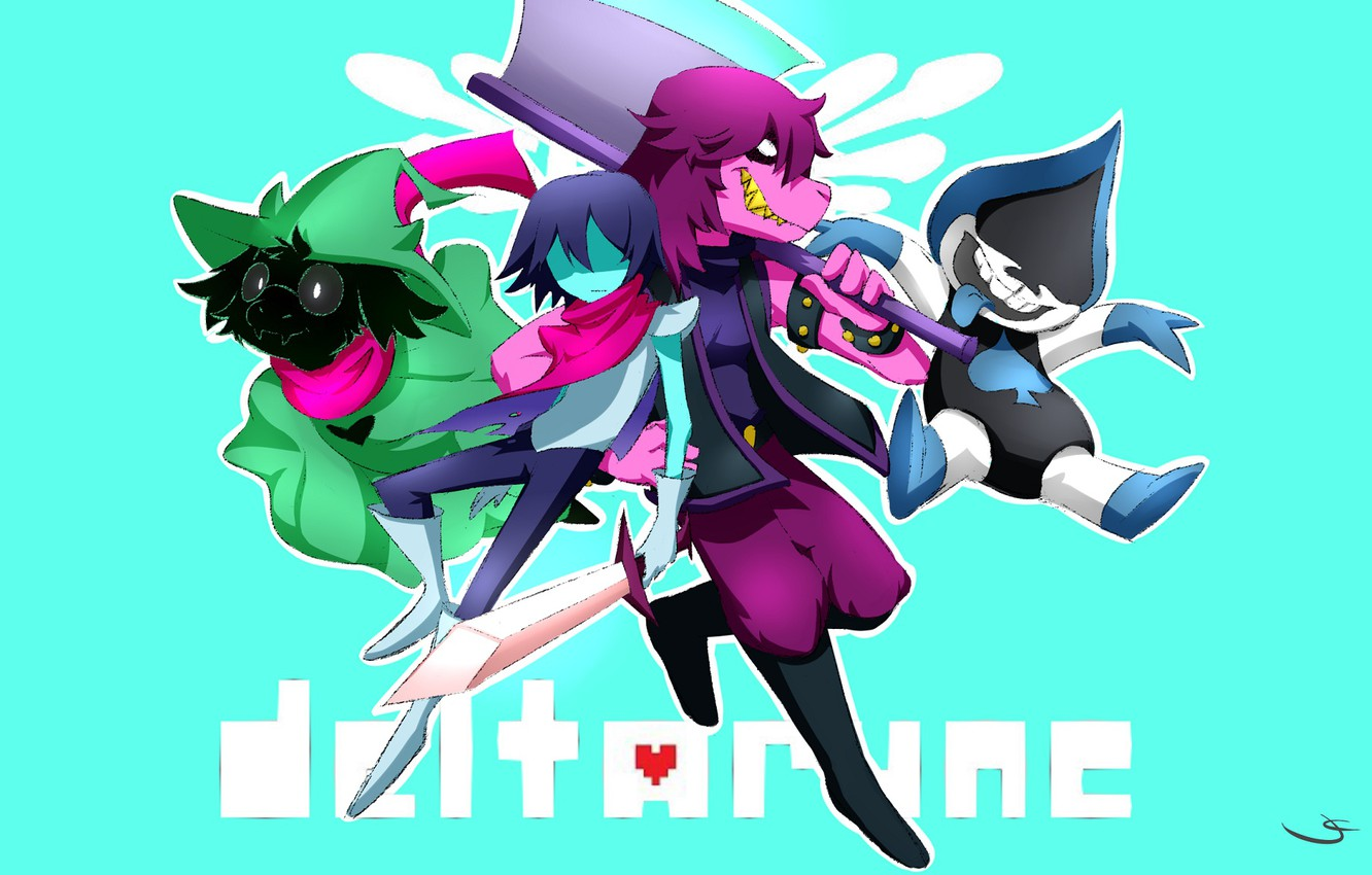 Wallpaper the game, characters, turquoise background, Deltarune