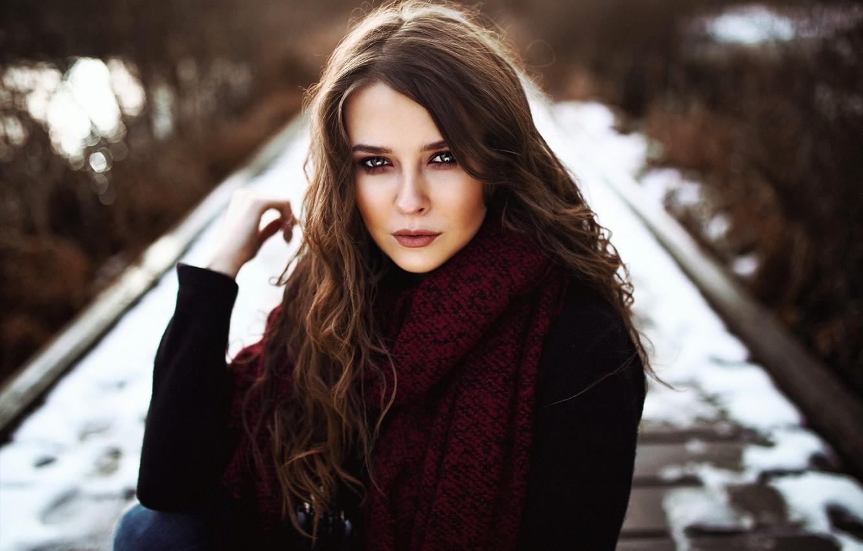 Photo wallpaper look, snow, model, portrait, makeup, scarf, hairstyle, brown hair, beauty, bridges, nature, posing, bokeh, Heiko …