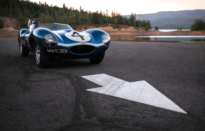 Photo wallpaper asphalt, lake, car, Race car, Jaguar D-Type