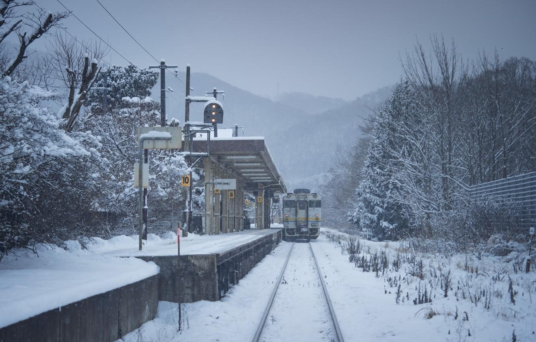 Photo wallpaper Winter, Japan, Station, Train, Railroad, Landscape