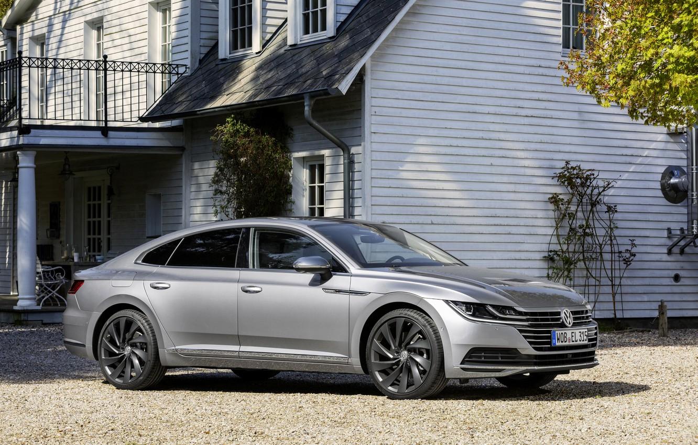 Photo wallpaper Volkswagen, Parking, facade, 2018, Elegance, liftback, 2017, Arteon, gray-silver