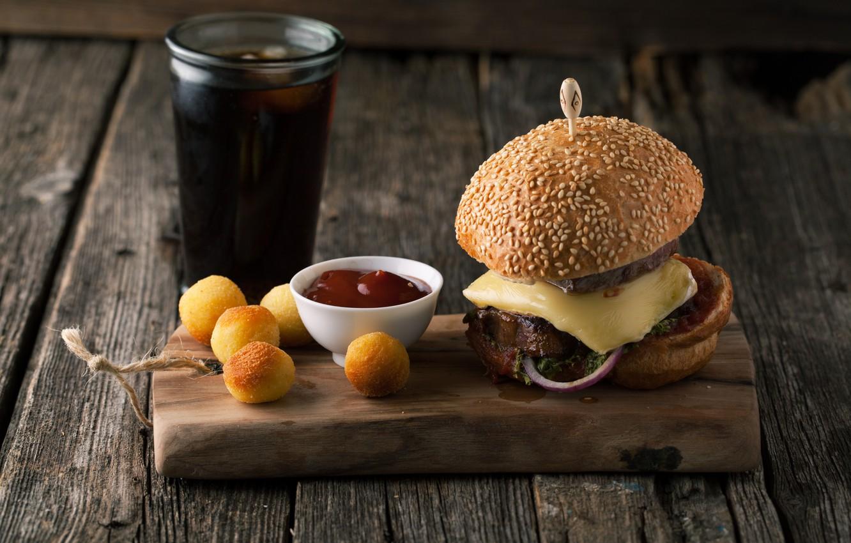 Photo wallpaper Board, hamburger, ketchup, cakes