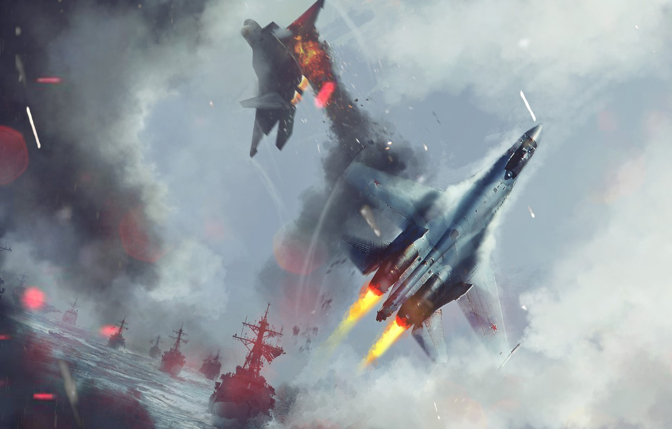 Photo wallpaper The ocean, Sea, Fighter, Battle, Ships, Navy, Art, F-22, BBC, Su-27, Attack, Dogfight, F-22, Lined, …