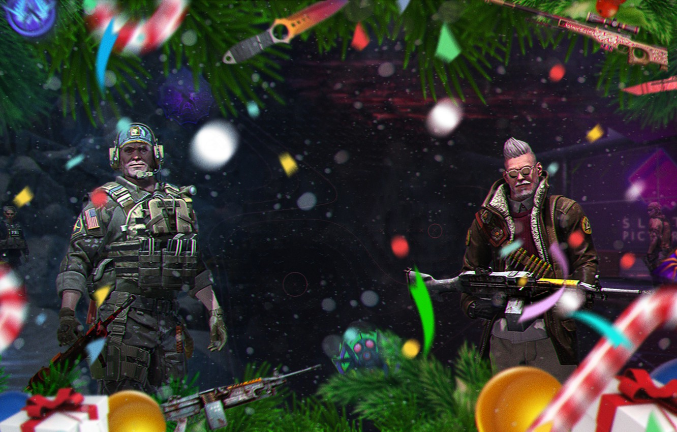 Photo wallpaper Snow, Map, Knife, Candy, Operation, Machine gun, New year, Tree, Weapons, Knives, Christmas, Candy, Valve, …