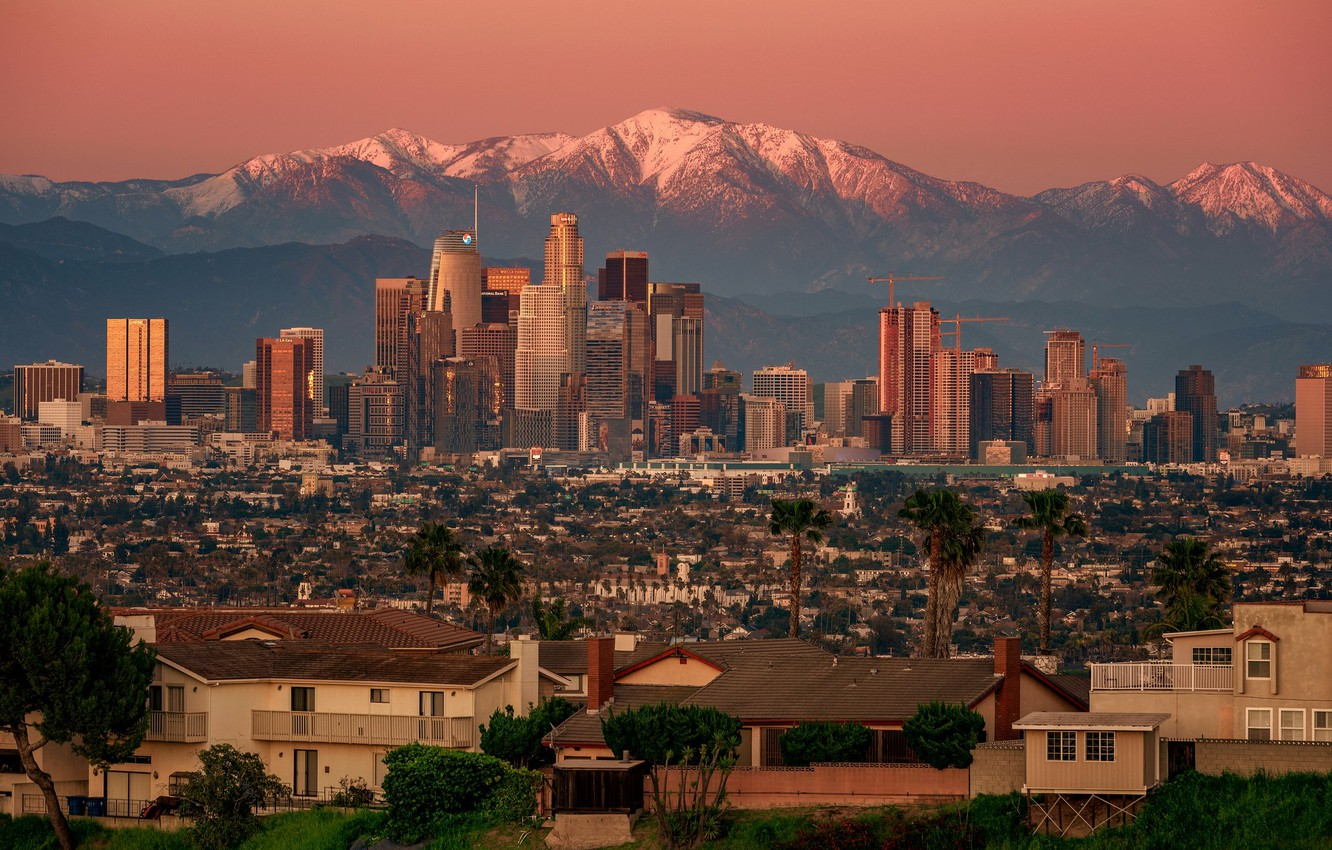 Photo wallpaper sunset, mountains, home, panorama, USA, Los Angeles