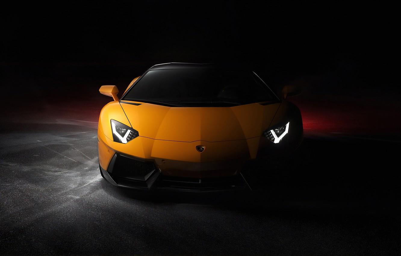 Photo wallpaper yellow, lights, shadow, Lamborghini, Front, Yellow, Aventador, Lamborghini Aventador