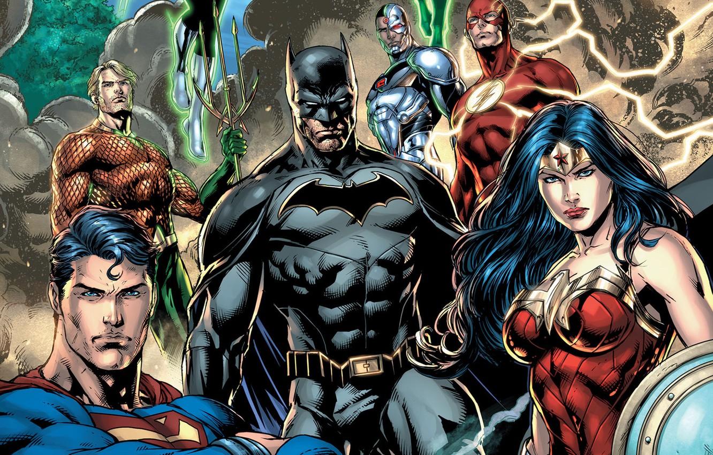 Photo wallpaper fantasy, Wonder Woman, Batman, comics, Superman, artwork, mask, superheroes, costume, fantasy art, DC Comics, Cyborg, …