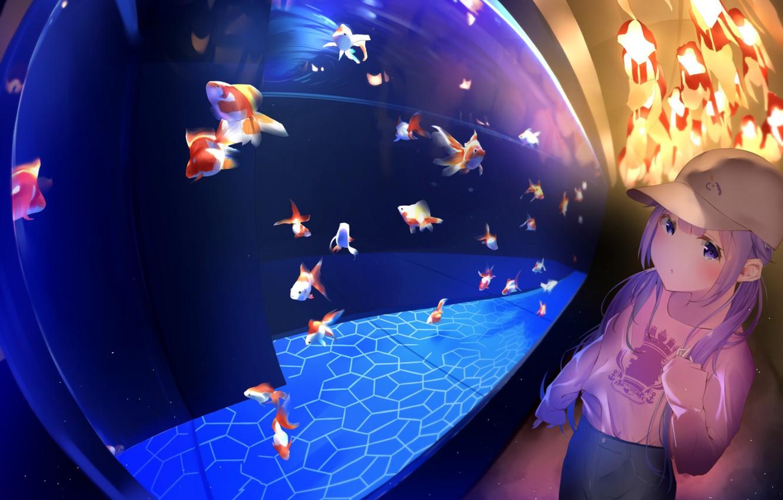 Photo wallpaper fish, aquarium, girl