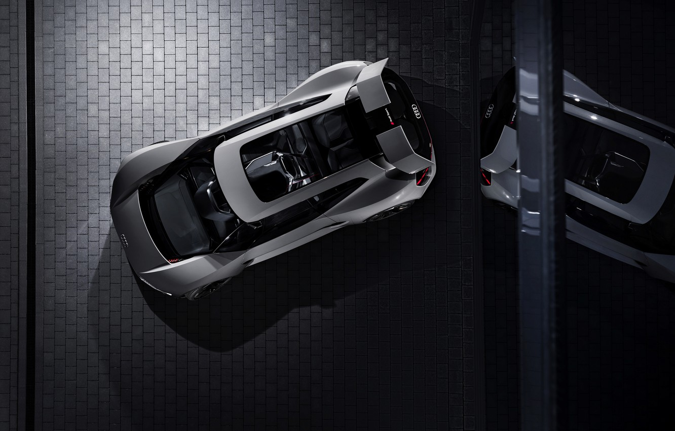 Photo wallpaper reflection, grey, Audi, the view from the top, 2018, PB18 e-tron Concept