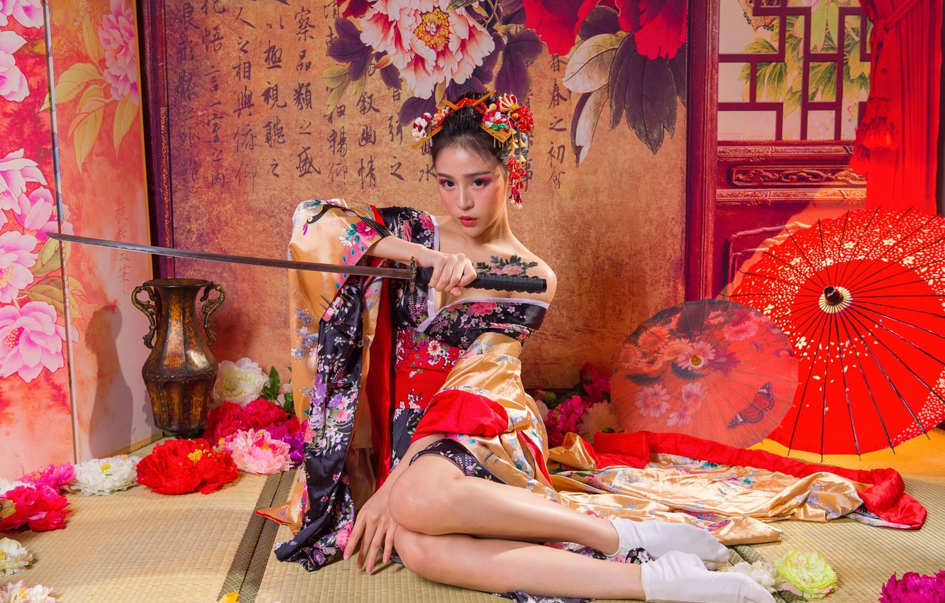 Photo wallpaper girl, flowers, pose, style, weapons, Japanese, sword, katana, makeup, dress, samurai, hairstyle, outfit, characters, umbrellas, ...