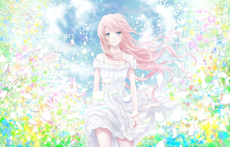 Photo wallpaper girl, flowers, tenderness, petals