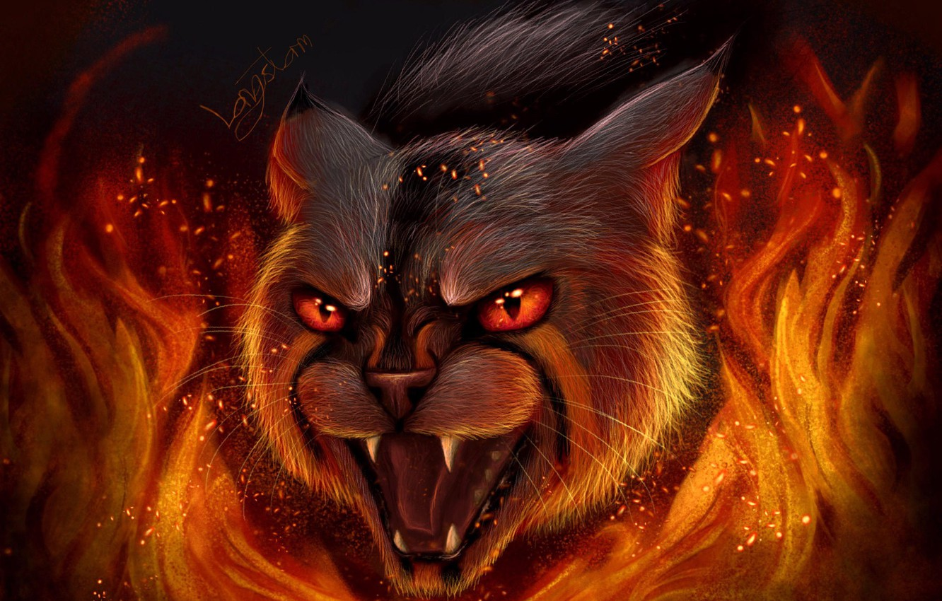 Photo wallpaper fear, fire, wool, sparks, mouth, fangs, grin, horror, werewolf, red eyes, wild cat, flames, evil …
