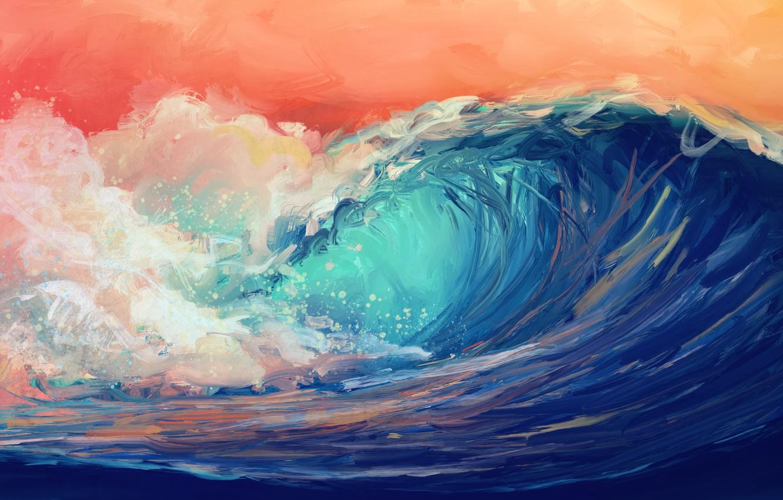 Photo wallpaper waves, sky, water, art, digital art, artwork, Sea, orange sky