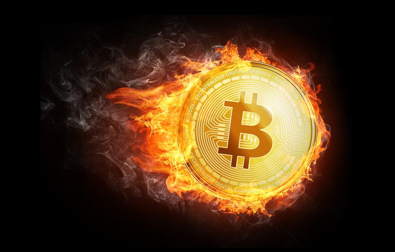Photo wallpaper fire, flame, smoke, fire, coin, fon, coin, bitcoin, bitcoin