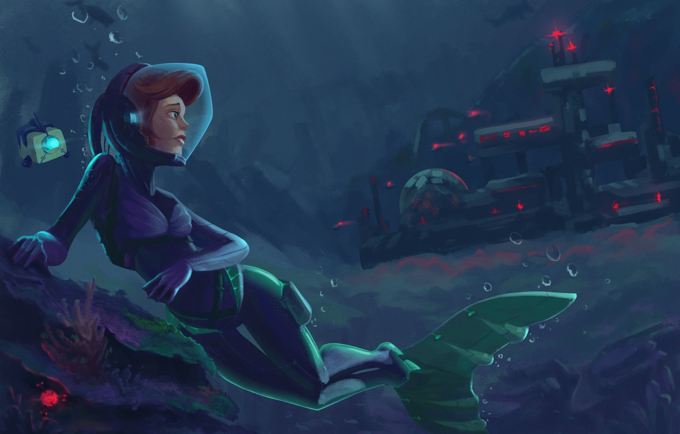 Photo wallpaper mermaid, art, Ariel, submarine base